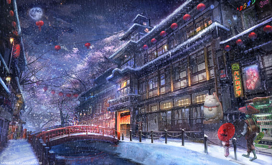 Обои Улица японского городка, by Sangrde