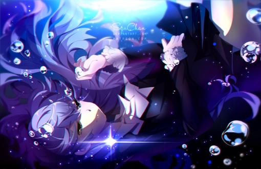 Обои Норико Сонозаки / Noriko Sonozaki под водой из аниме Кизнайвер / Kiznaiver, by SquChan