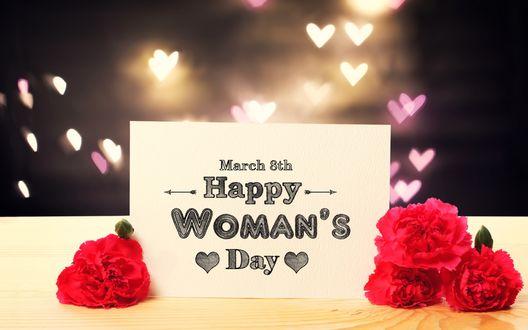 Обои Гвоздики и открытка с надписью (March 8th Happy Womans Day) на фоне сердечек