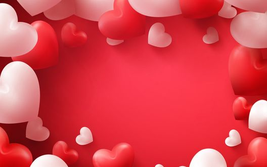 Обои Белые и красные сердечки