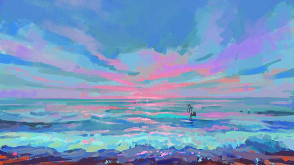 Обои Школьница стоит в море, by ATA-主播尊尊尊