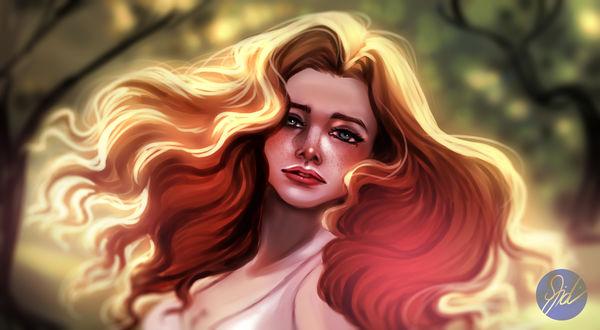 Обои Красивая девушка с веснушками на фоне природы, by FidisART