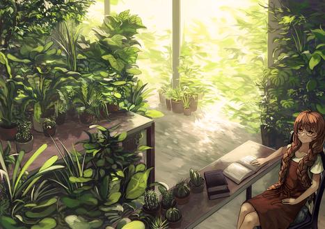 Обои Девушка сидит за столом в саду, автор Berabou