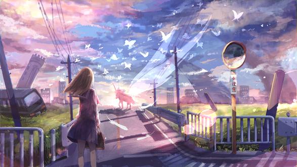 Обои Девушка смотри на единорога в дали, автор Аkira