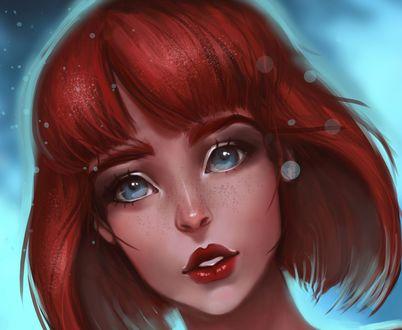 Обои Девушка с голубыми глазами и яркими волосами