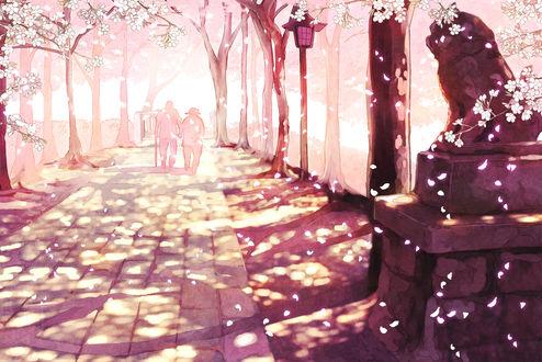Обои Пожилая пара гуляет по парку в Японии во время цветения сакуры, art by Furai