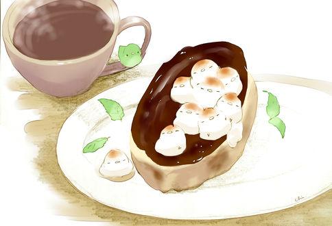 Обои Птички, чашка какао и сладкая булочка с листьями мяты на тарелке, by チャイ