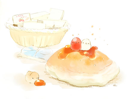 Обои Птички и булочка с повидлом, by チャイ