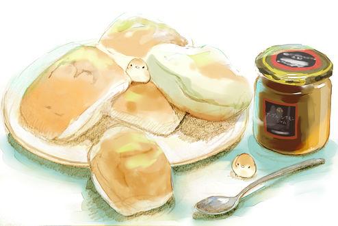 Обои Птички, тарелка с булочками, ложка и банка с джемом, by チャイ