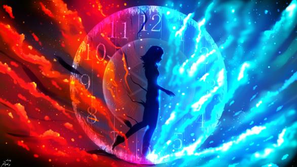 Обои Девушка внутри часов, между двух стихий : воды и огня, by ryky