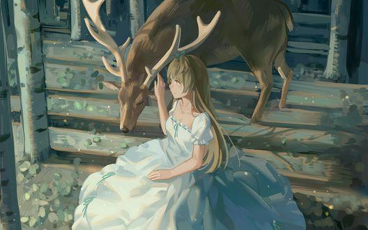 Обои Котори Минами / Kotori Minami сидит возле оленя, персонаж из аниме Живая любовь! Проект «Школьный идол» / Love Live! School Idol Project