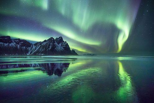 Обои Отражение гор Vestrahorn и северного сияния в воде, Iceland / Исландия, фотограф Luca Micheli