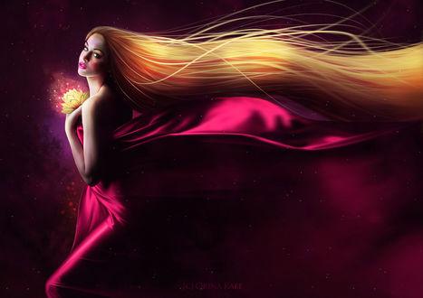 Обои Девушка с длинными волосами, в развивающейся яркой ткани, держит в руке светящийся цветок, by Orina Kafe