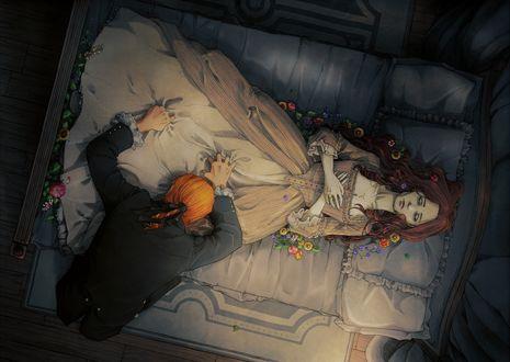 Обои Девушка умершая лежит на постели среди цветов, рядом скорбит мужчина