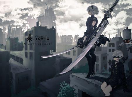 Обои YoRHa №2 тип B и YoRHa №9 тип S из игры NieR: Automata, автор Saitou