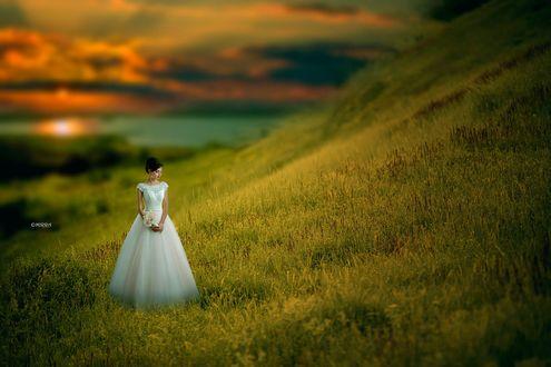 Обои Невеста стоит на склоне холма, фотограф Alina MIRRA