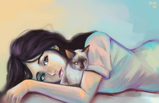Обои Девушка с кошкой, by hujunisei