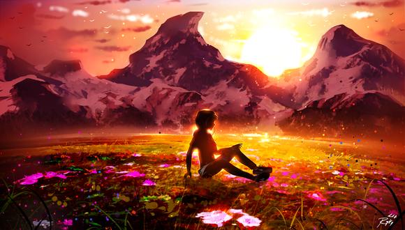 Обои Девушка сидит на поляне, by ryky