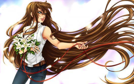 Обои Девушка с длинными волосами держит в руке букет белых лилий
