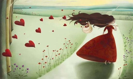 Обои Девушка в красном платье путешествует с узелком за плечами из которого вылетают красные сердечками