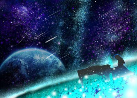 Обои Девушка за роялем на фоне космоса