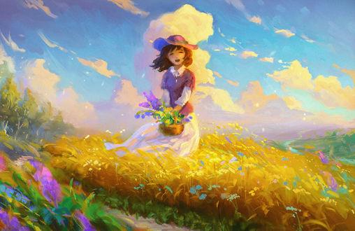 Обои Смеющаяся девушка с корзиной цветов, by Sylar113