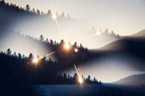 Обои Отблески над природой в тумане, by Versatis