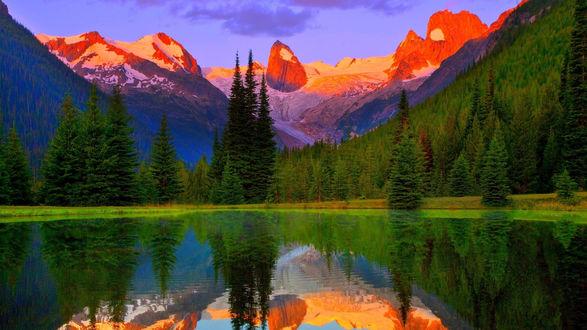 Обои Озеро, окруженное хвойным лесом на фоне хребта Бугабус / Bugaboos, в горах Перселл / Purcell Mountains, Канада / Canada