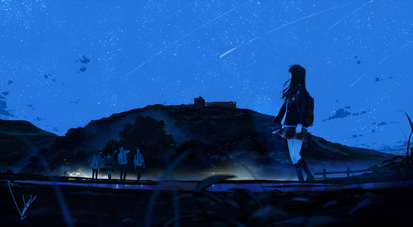 Обои Девушка-школьница смотрит на звездное небо, автор Loundraw