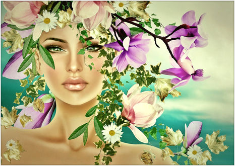 Обои Зеленоглазая девушка-весна с венком из ромашек и магнолии с листьями