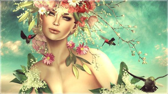 Обои Зеленоглазая девушка-весна с венком из цветов на голове, в окружении ландышей и летающих птиц