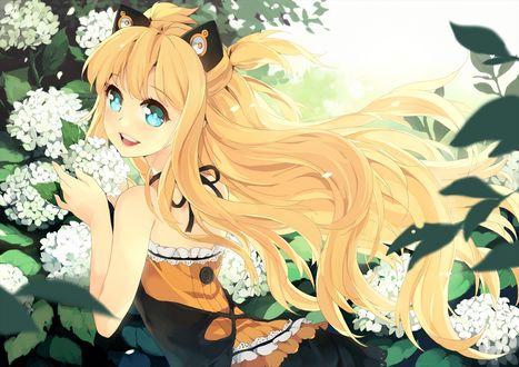 Обои Светловолосая девушка около цветущего дерева с белыми цветами