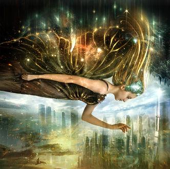 Обои Девушка с крыльями бабочки парит над городом
