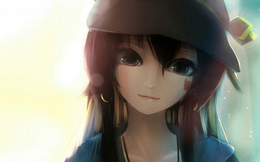 Обои Темноволосая девушка в шляпе с нарисованным сердечком на щеке, by Sen Ya