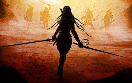 Обои Девушка с двумя мечами идет навстречу врагам, автор оригинала Artificialdesign