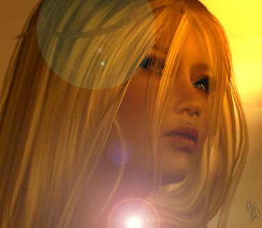 Обои Блондинка в бликах света, by Kelly