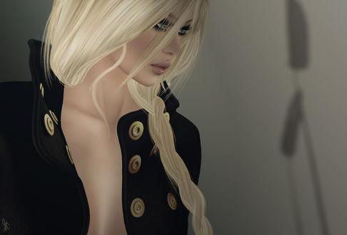 Обои Девушка блондинка в черном жакете, by Kelly