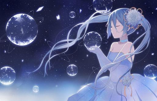 Обои Вокалоид Мику Хацунэ / Hatsune Miku держит в руках планету
