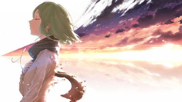 Обои Vocaloid Gumi Megpoid / Вокалоид Гуми Мэгпоид в наушниках слушает музыку, на фоне заката