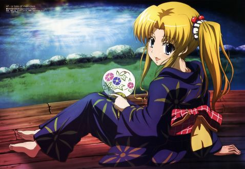 Обои Светловолосая девушка в кимоно