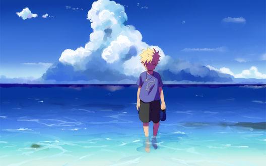 Обои Маленький Naruto / Наруто в море из аниме Naruto / Наруто