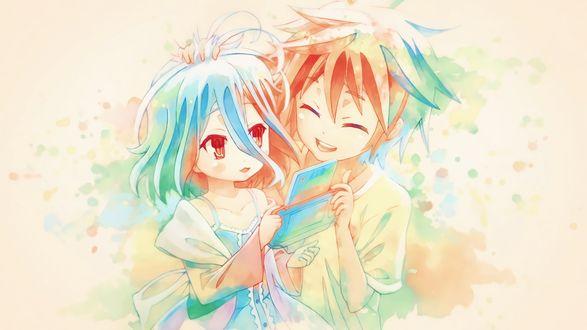 Обои Маленькие Сора / Sora и Сиро / Shiro из аниме No Game No Life / Нет игры - нет жизни