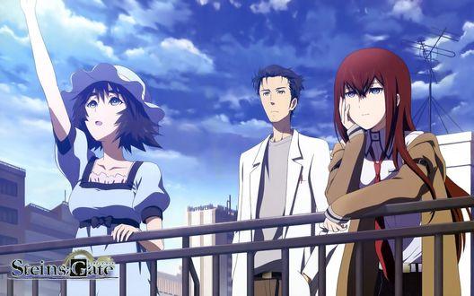 Обои Две девушки и парень, из аниме Steins Gate / Врата Штейна