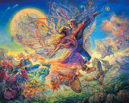 Обои Волшебные сны влюбленных, парящих в небе от художницы Josephine Wall / Жозефины Уолл