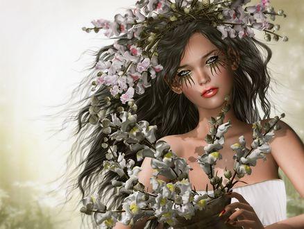 Обои Девушка с весенними цветами на волосах и в руках и ярким макияжем, by nimoe constantineцв