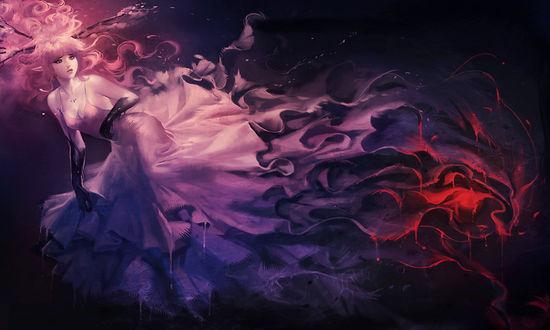 Обои Девушка с розовыми волосами и ветками на голове, в пышном сиреневом платье, смотрит куда-то вдаль, на темном фоне