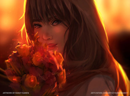 Обои Девушка с букетом цветов, by Ramzy Kamen