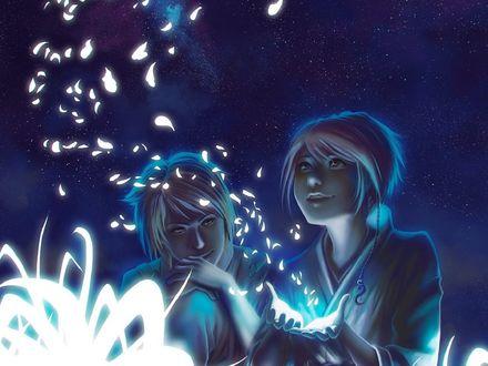 Обои Парень с девушкой наблюдают за магическим свечением, исходящим из рук, by Caro Tuts