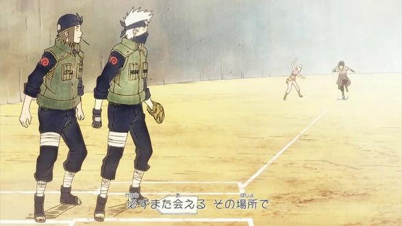 Обои Hatake Kakashi, Suigetsu, Izumo Kamizuki и Uchiha Sasuke / Учиха Саске играют в бейсбол из аниме Наруто / Naruto, art by Masashi Kishimoto