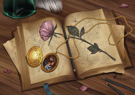 Обои На открытой книге лежит золотой медальон и роза, by barn-swallow